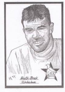 Heath Stream Zimbabwe Cricket Artist Drawing Limited Edn of 500 Postcard