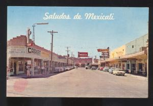 SALUDOS DE MEXICALI MEXICO 1960's CARS DOWNTOWN STREET SCENE OLD POSTCARD