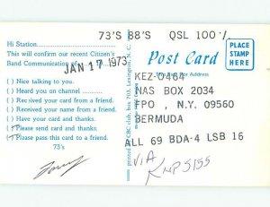 Pre-1980 RADIO CARD - CB HAM OR QSL Hamilton Bermuda Carribean AH1320