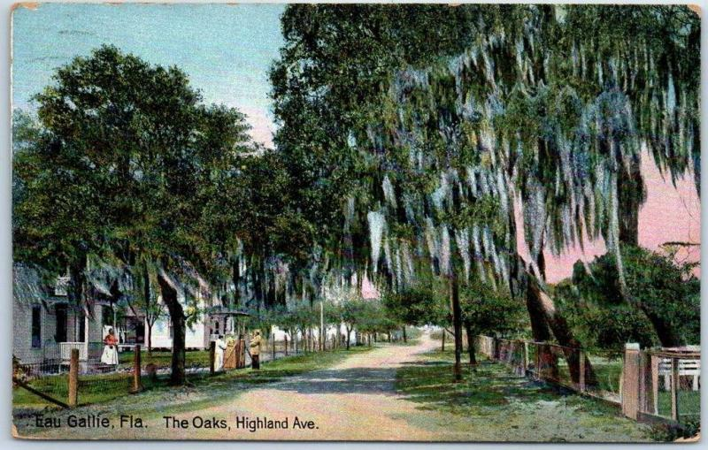 Eau Gallie, Florida Postcard The Oaks, Highland Avenue Street View 1913 Cancel
