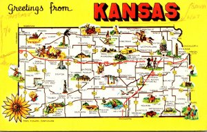 Kansas Greetings From The Sunflower State With Map
