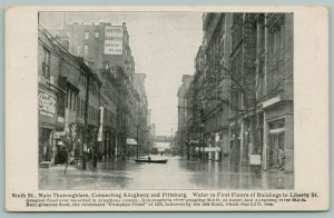 Allegheny-Pittsburg PA~6th St~1936 Flood Damage~Hotel Anderson~Big Coke Sign PC