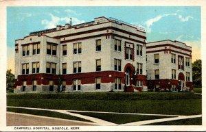 Nebraska Norfolk Campbell Hospital 1923 Curteich