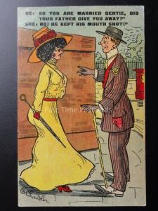 E.Chandler: Comic Postcard SO YOU ARE MARRIED GERTIE?.... c1908