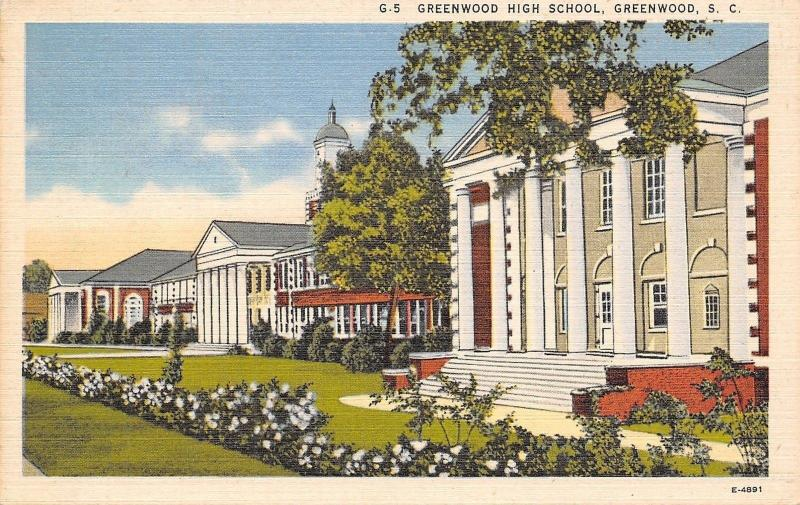 Greenwood South Carolina~High School Campus~1940s Linen Postcard