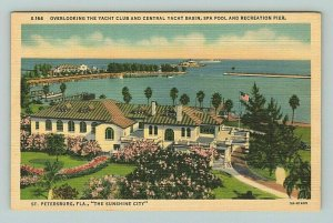 Yacht Club Basin Spa Pool Recreational Pier St Petersburg Florida FL Postcard