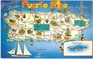 Greetings from Puerto Rico, U.S.A.. Chrome Map Card