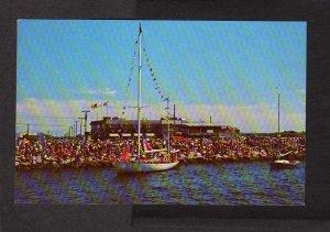 RI Galilee Fishing Boats George's Restaurant Narragansett Rhode Island Postcard