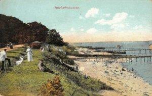 Julebækshusene, Denmark Beach Scene ca 1910s Antique Vintage Postcard
