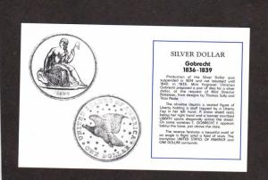 Coins Silver Dollars Gabrecht  US Coinage Money Silver Dollar Postcard