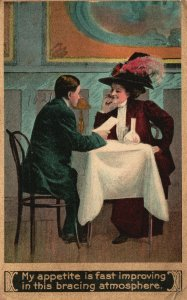 Vintage Postcard My Appetite Is Fast Improving Bracing Atmosphere Couple Dating