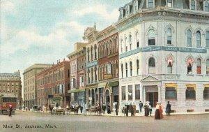 Jackson MI Main Street Storefronts Jackson Business University Trolley Postcard