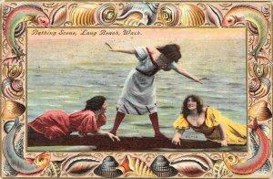 Edwardian Bathing Scene LONG BEACH, WA Seashell Border 1911 Vintage Postcard