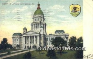 Springfield, Illinois, IL State Capital USA 1907 corner wear postal marking o...
