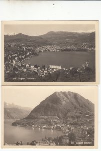 P1725 2 dif vintage unused postcards lugano panorama switzerland