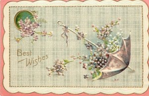 Best Wishes~Open Umbrella Overflows With Violets~Scallop Edge~Gold Leaf Emboss