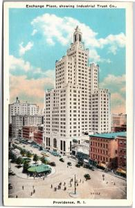 Exchange Place, Industrial Trust Co Providence RI Vintage Postcard H11