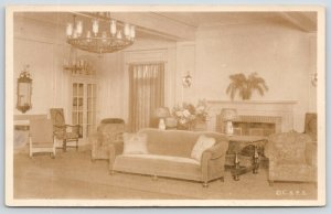 Concord NH~Christian Science Pleasant View Home Interior~Living Room~1930s RPPC