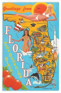 Florida Map Illustrated Cities Bathing Beauties Sunshine State Vintage Postcard