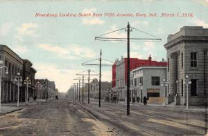 Gary Indiana Broadway Looking South Street Scene Antique Postcard K24046