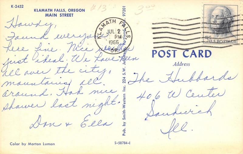 Klamath Falls Oregon~Main Street~Weisfields~Flower Shop~Neon Signs~1950s Cars~PC