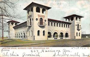 Indianapolis Indiana Riverside Park Shelter House Antique Postcard K24500