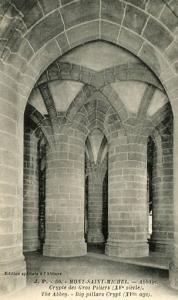 France - Mont Saint Michel, The Abbey, Big Pillars Crypt