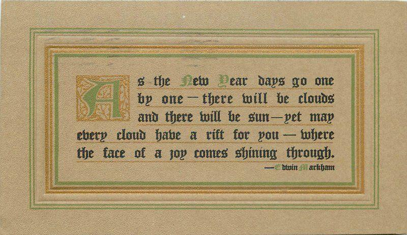 Arts Crafts 1910 New Year Saying Artist Impression Postcard 6581