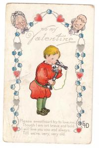 Valentine Child Telephone Grandparents 1910 Poem Postcard