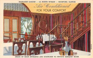 Mandarin Garden Restaurant, Rockford, Illinois, Early Linen Postcard, Unused