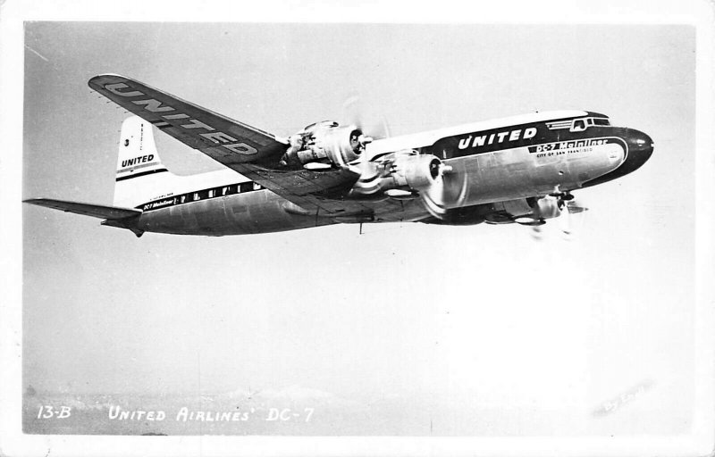 United Air Lines DC-7 Airplane Photo #13-B By Enell RPPC
