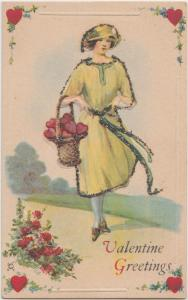 VALENTINE'S DAY Love Postcard Holiday Greetings c1910 WOMAN Gliter! Hearts 185