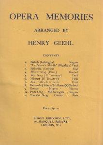 Opera Memories by Henry Geehl Sheet Music Album Book