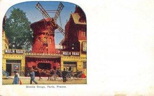 MOULIN ROUGE Paris, France Cabaret Windmill ca 1910s Vintage Postcard