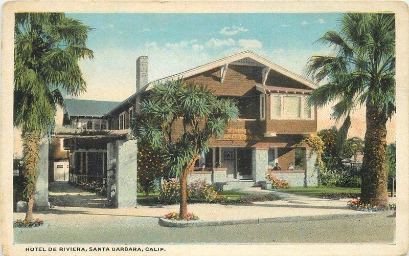 Berkey 1920s Hotel De Riviera Santa Barbara California roadside postcard 8745