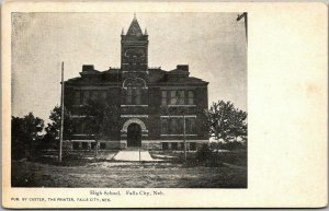 1900s Falls City, Nebraska Postcard HIGH SCHOOL Building Custer, The Printer