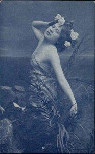 RISQUE Pretty Woman Strikes Dramatic Pose c1905 Postcard