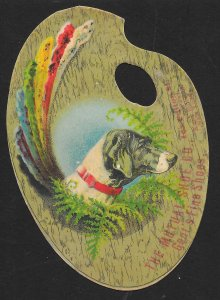 VICTORIAN TRADE CARD Mutual Shoe Co Dog Profile on DieCut Palette