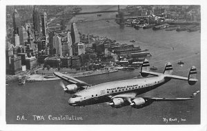 TWA Constellation Over New York City Photo #5A By Enell RPPC