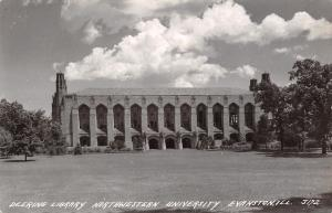 Evanston IL Grounds Before Deering Library~Northwestern University RPPC 1951