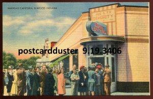 3406 - ELWOOD Indiana Postcard 1940s Mangas Cafeteria. Main Street