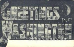 Washington USA Large Letter Town Vintage Postcard Old Post Card Antique Posta...