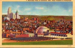 Ohio Cincinnati Birds Eye View With Union Terminal In Foreground 1944 Curteich