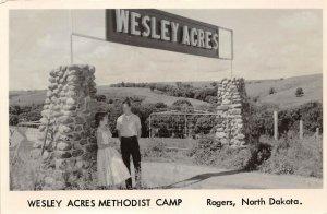 LPS55 Rogers North Dakota Wesley Acres Methodist Camp Entrance Postcard RPPC