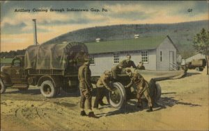 Army Truck Towing Cannon Artillery Indiantown Gap PA WWI Linen Postcard