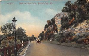 Kansas City Missouri~Vintage Car on Cliff Drive~Lamppost by Railing~1913 Pc