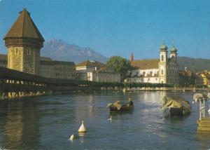 Switzerland, Suisse, Luzern, Lucerne, Kapellbrucke mit pilatus, used Postcard