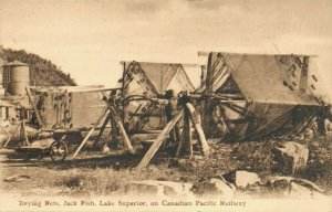 Canada Drying Nets Jack Fish Lake Superior on Canadian Pacific Railway 03.51