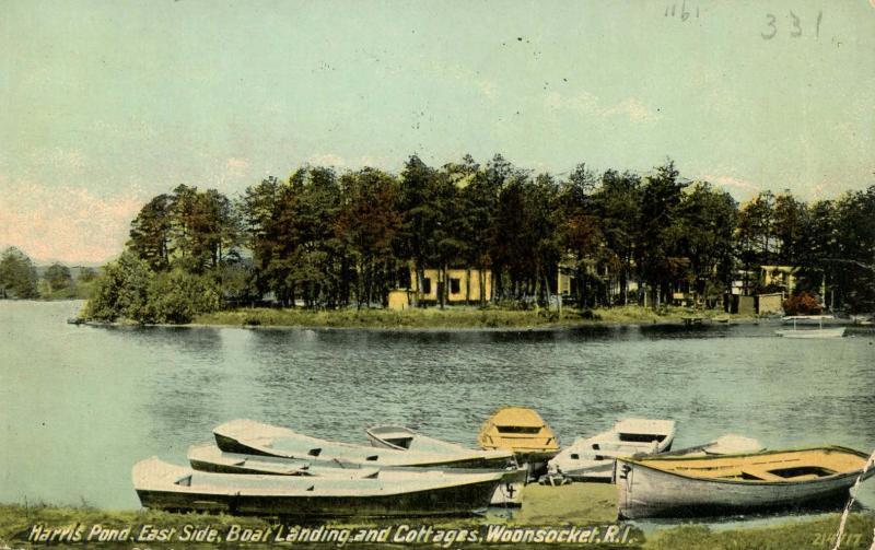 RI - Woonsocket. Harris Pond, East Side, Boat Landing & Cottages