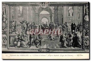 Old Postcard Tapestry Gobelins School of Athens by Raphael after Loges Vatican